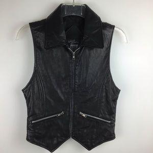 MICHAEL HOBAN Vintage Black Leather Moto Vest